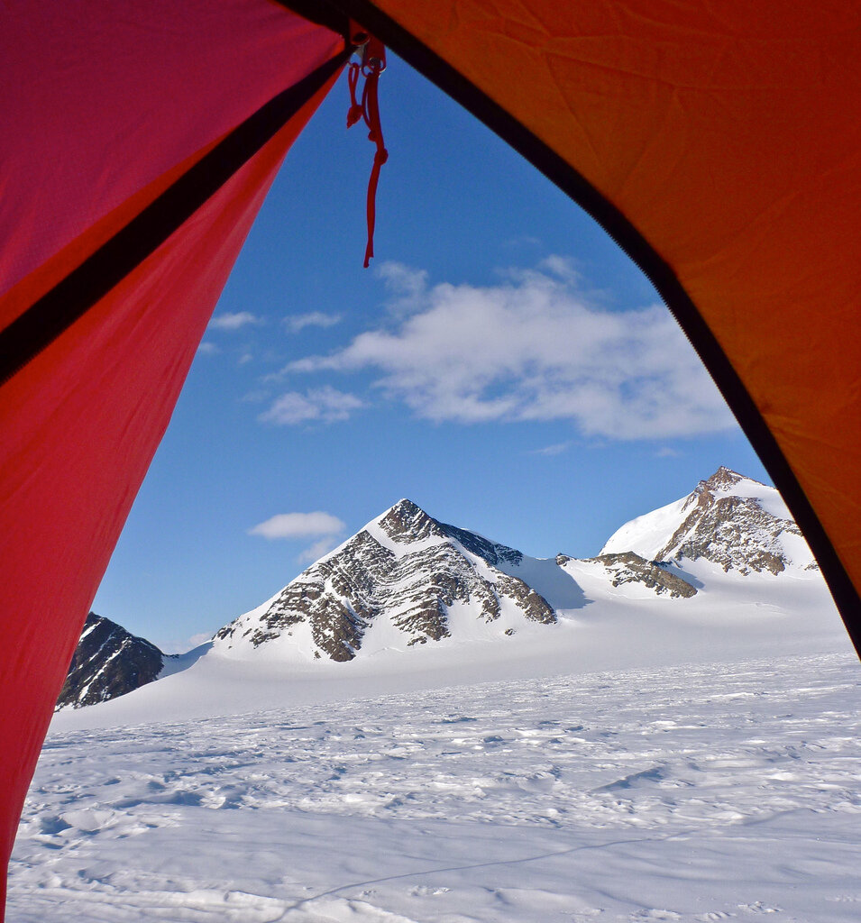 View of Pyramid Peaks from field camp on Larson Glacier