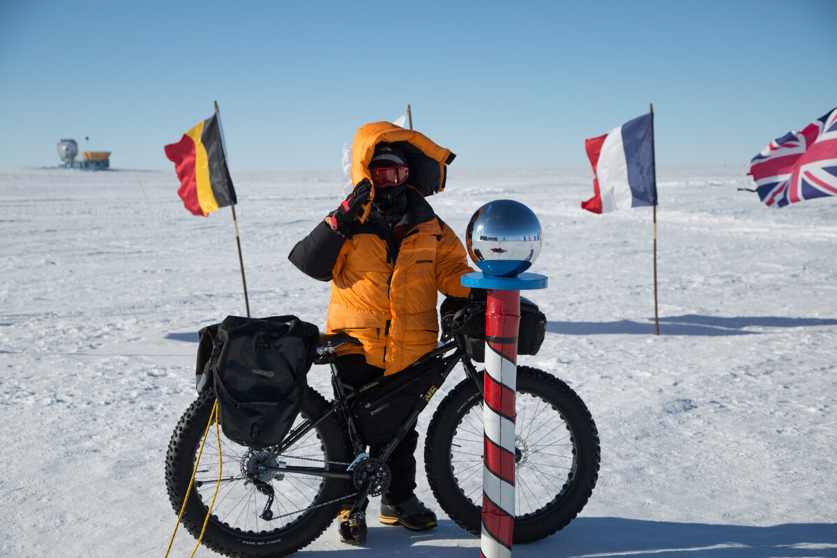 Yoshifumi with his bike at the Ceremonial South Pole