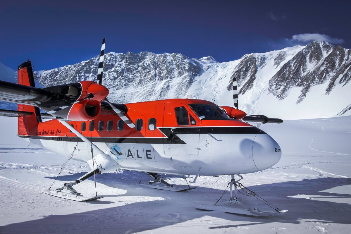 ALE's Twin Otter parked at Vinson Base Camp