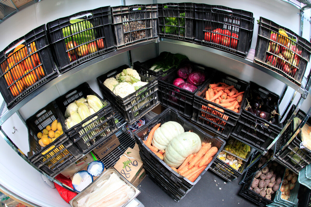 Inside the fruit and vegetable chilled storage