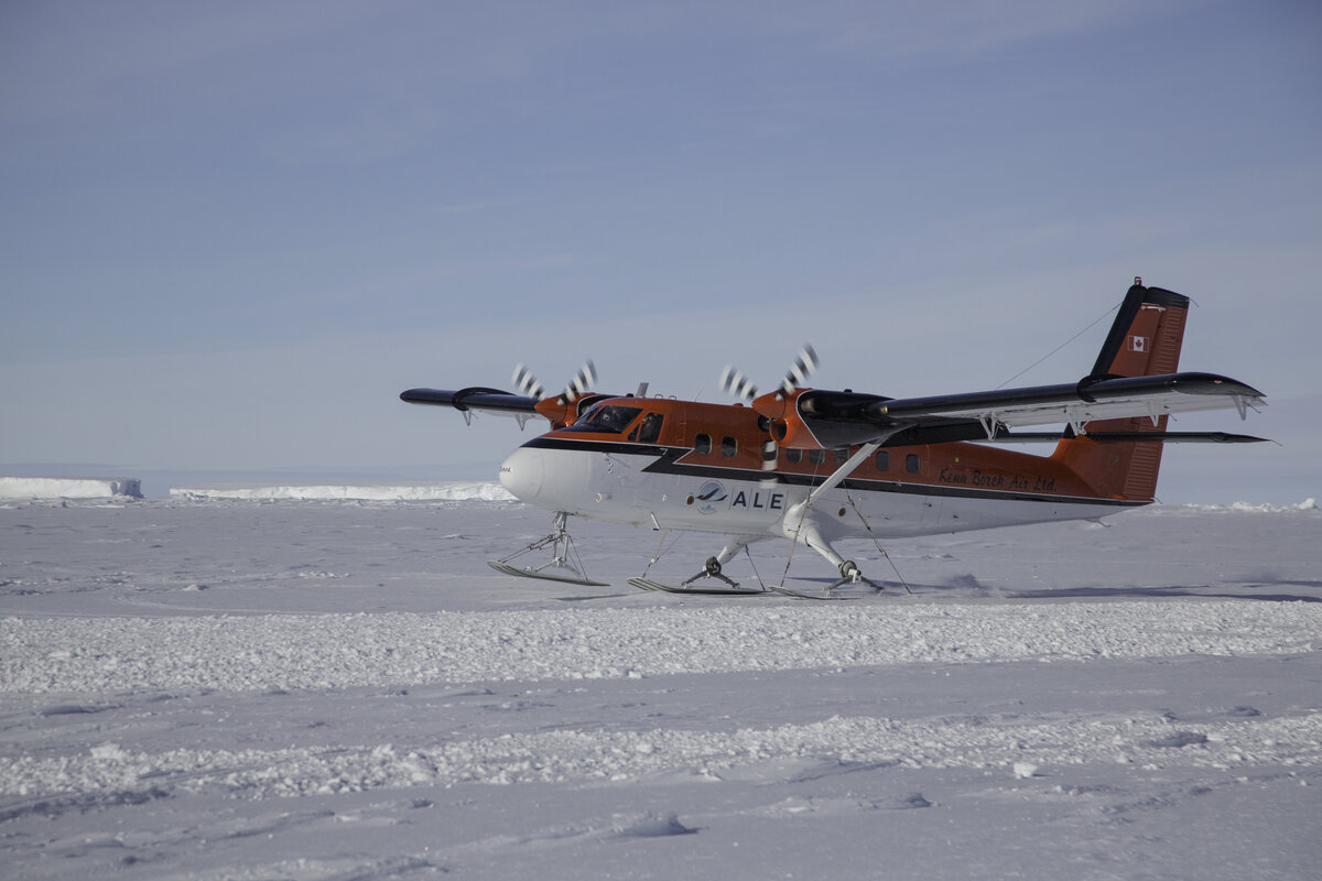 ALE Twin Otter lands on sea ice at Gould Bay
