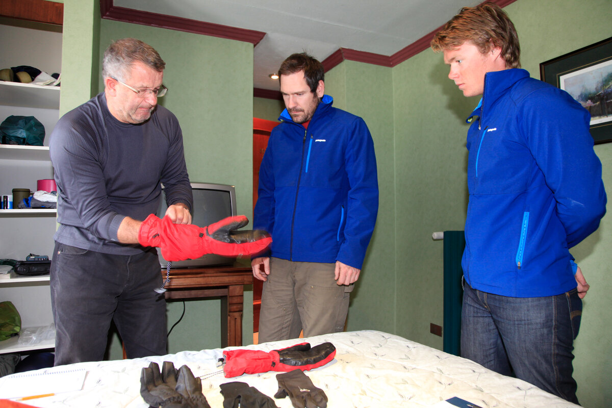 Gear checks ensure items are clean, to avoid introducing non-native species to Antarctica.