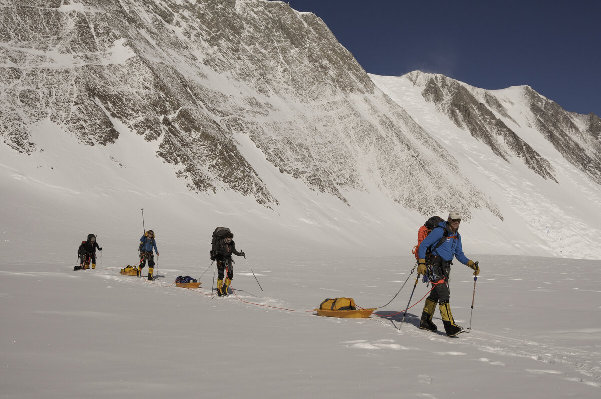 ALE guided team approaches low camp