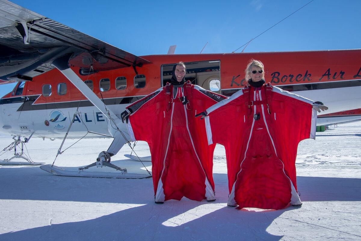 Glenn Singleman and Heather Swan in wingsuits