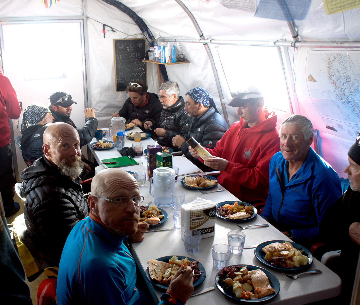 ALE guests enjoy a salmon dinner with roast potatoes