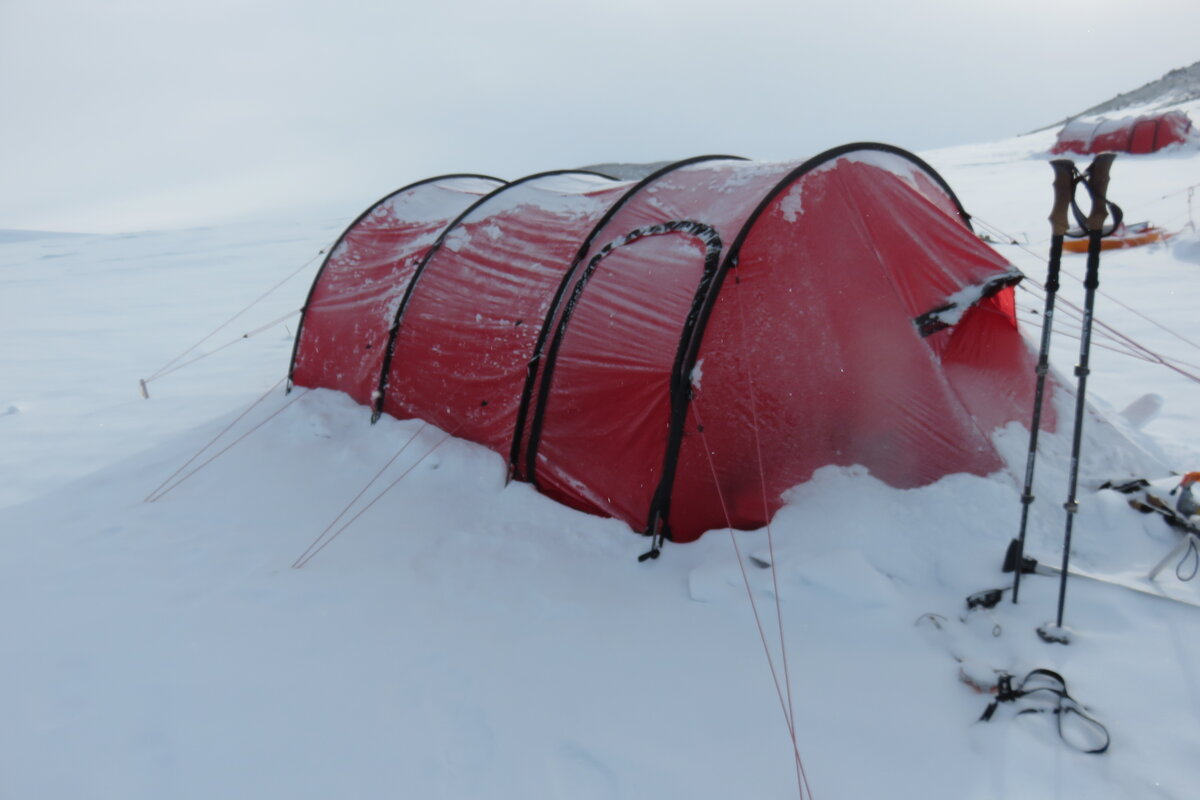 Snow covered Hilleberg tent on Mount Sidley