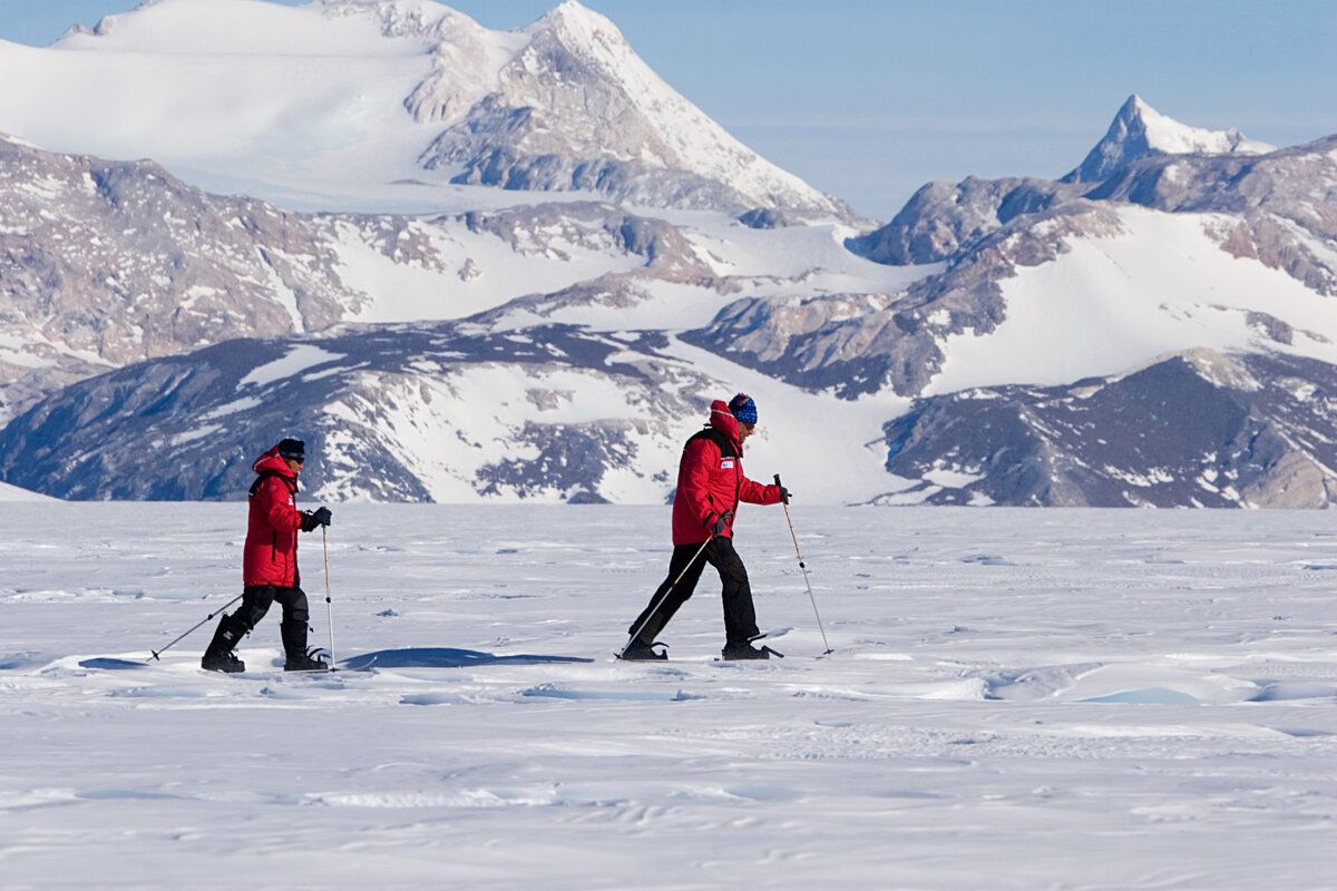 Guests go on a cross-country ski excursion