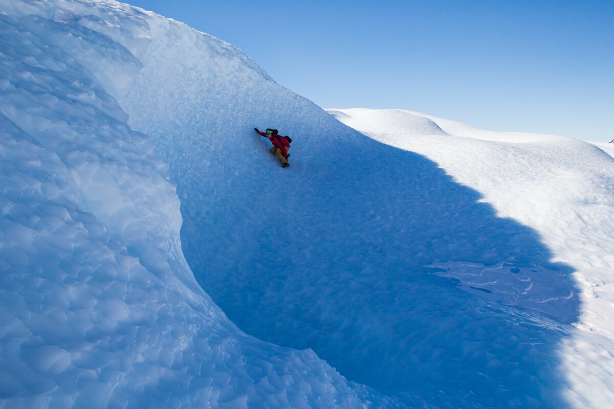 Surfing the blue-ice waves of the Drake Icefall