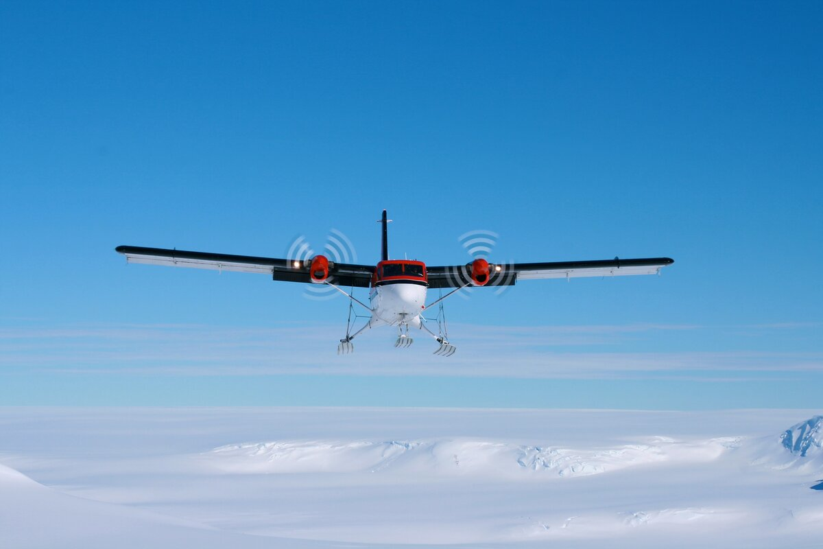 Twin Otter approaches the skiway at Vinson Base Camp