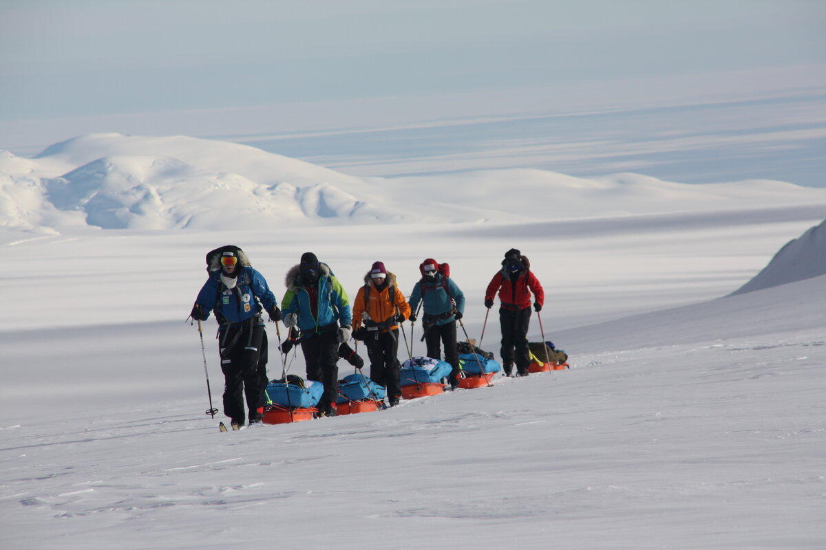 Expedition team approaches the top of the Axel Heiberg Glacier