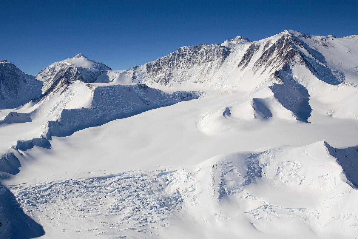 Looking up the Branscomb Glacier toward Shinn and Vinson