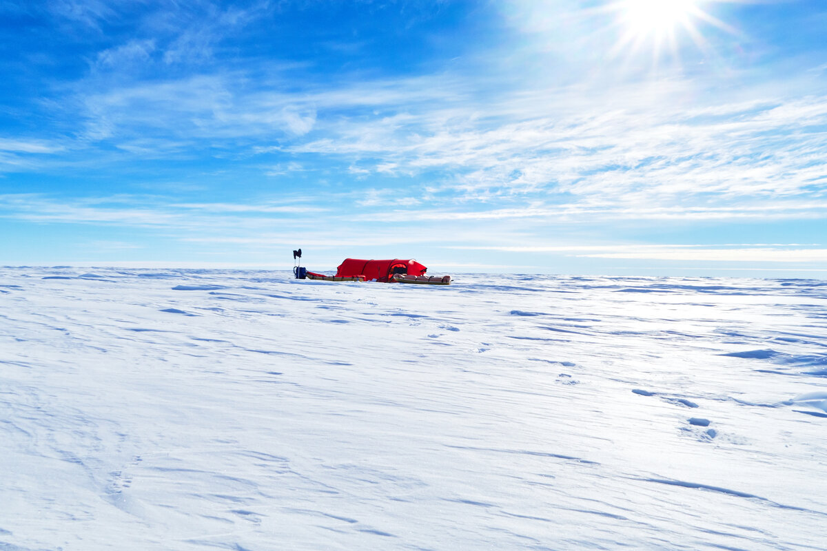 Expedition tent on polar plateau
