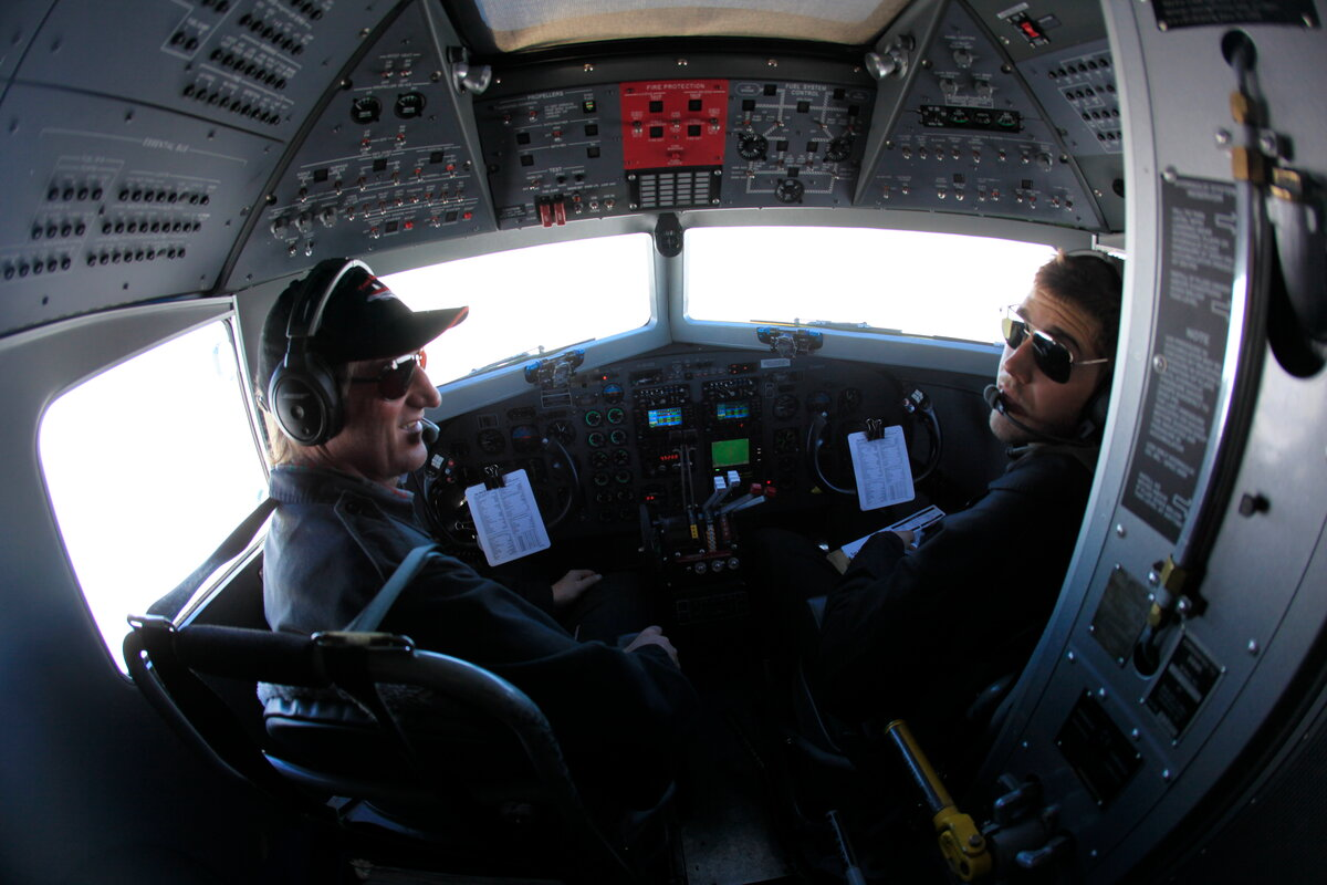Basler BT-67 crew in cockpit