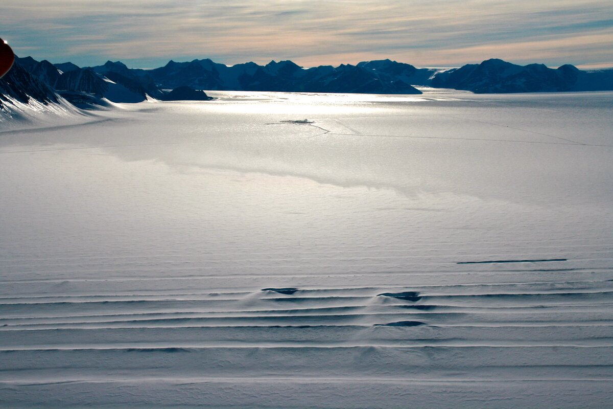Crevasses form as a result of glacier movement