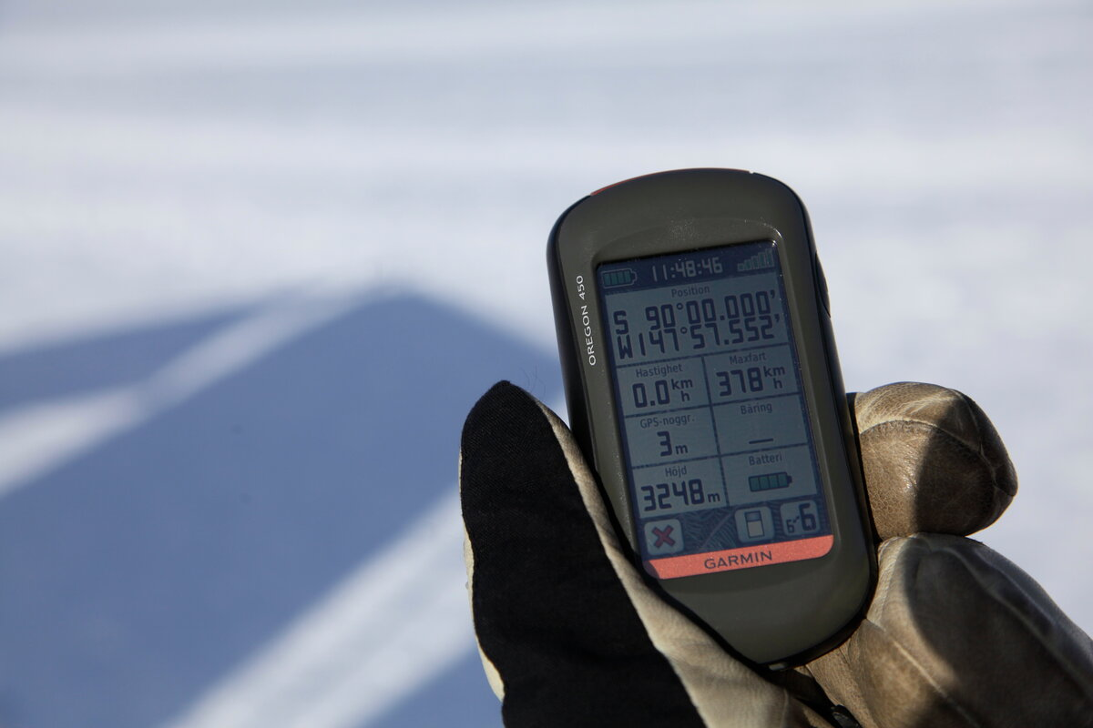 GPS at South Pole shows 90 degrees south