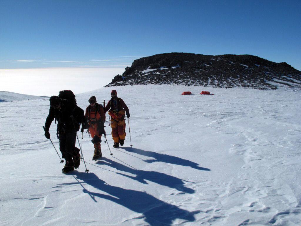 Leaving high camp to climb Sidley's East Ridge