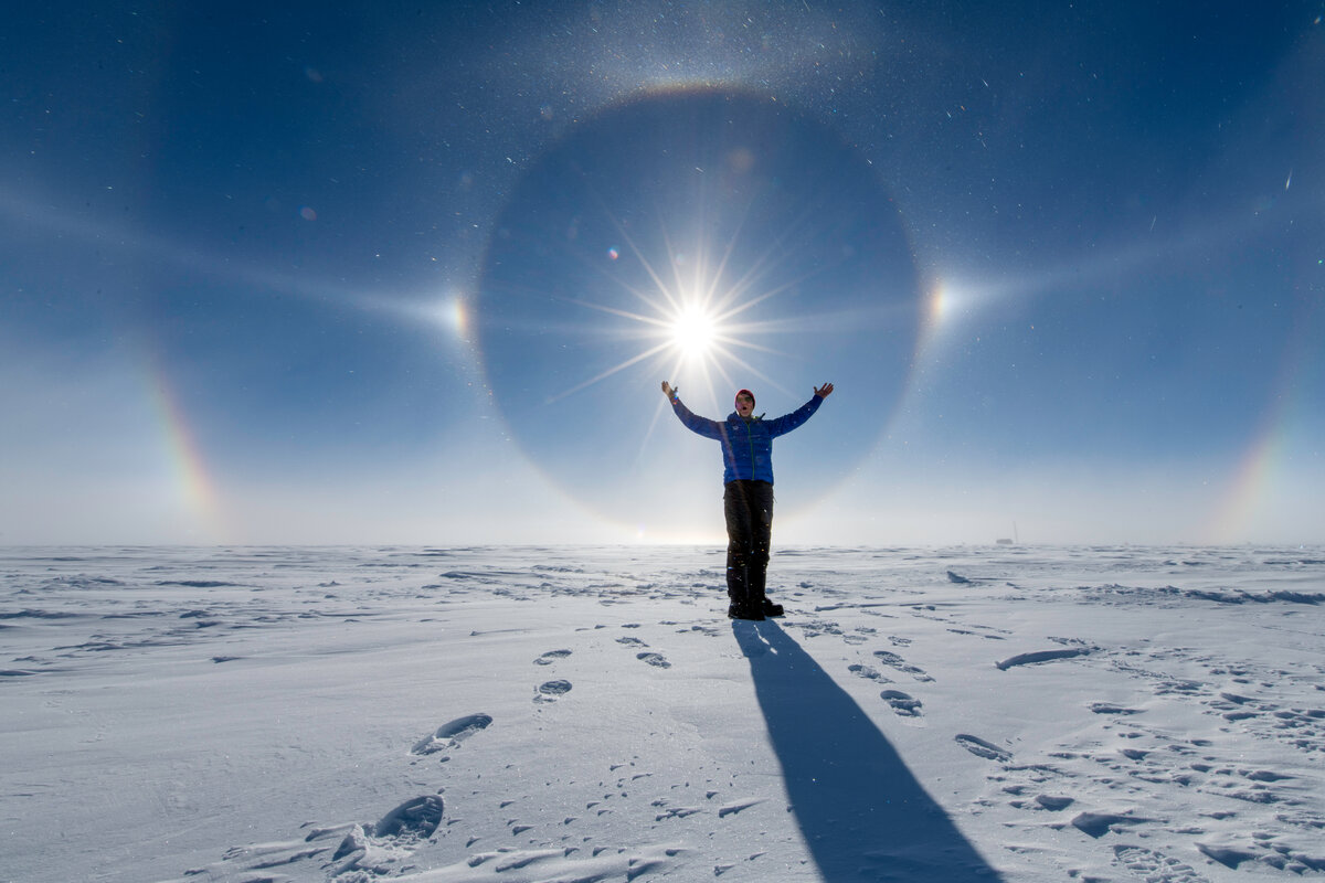 A stunning solar halo  happening over the South Pole