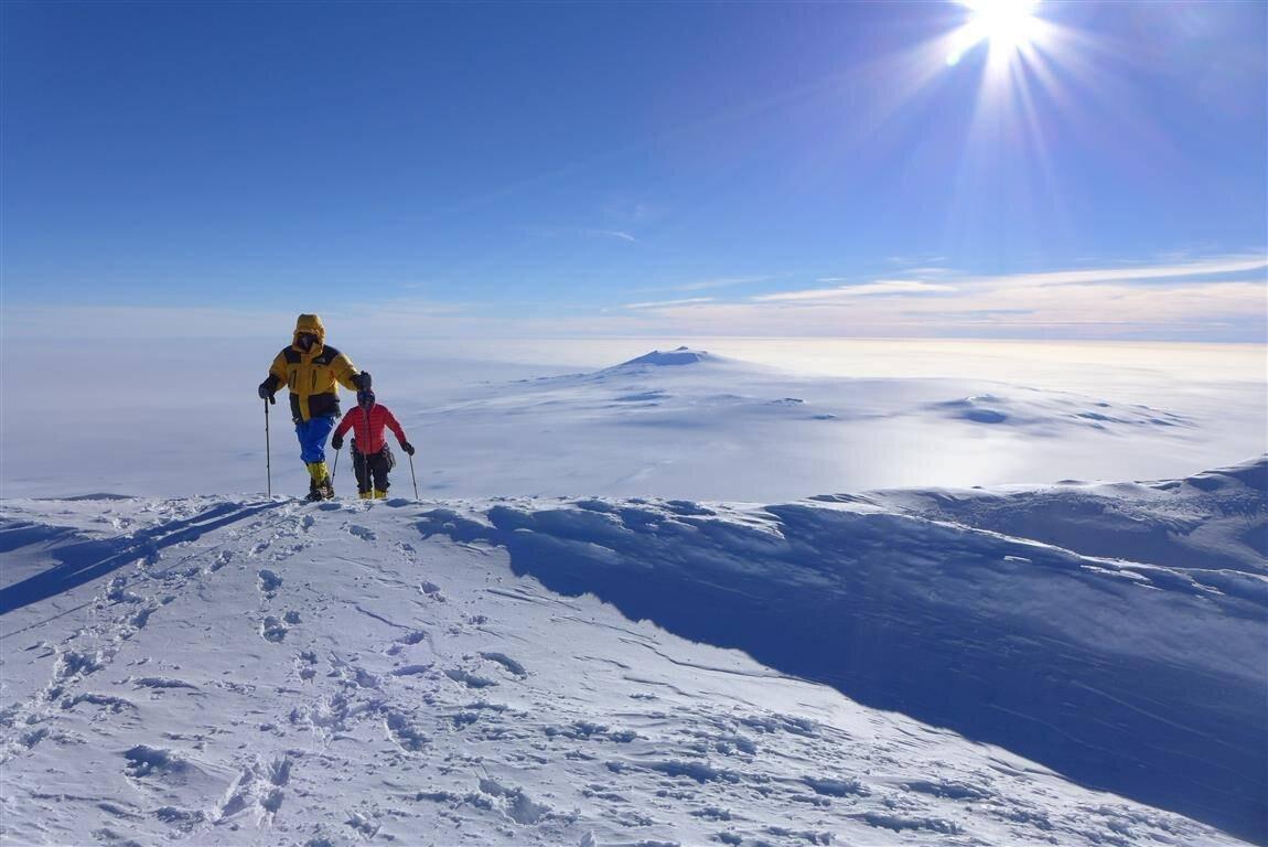 Cresting the summit ridge of Mount Sidley