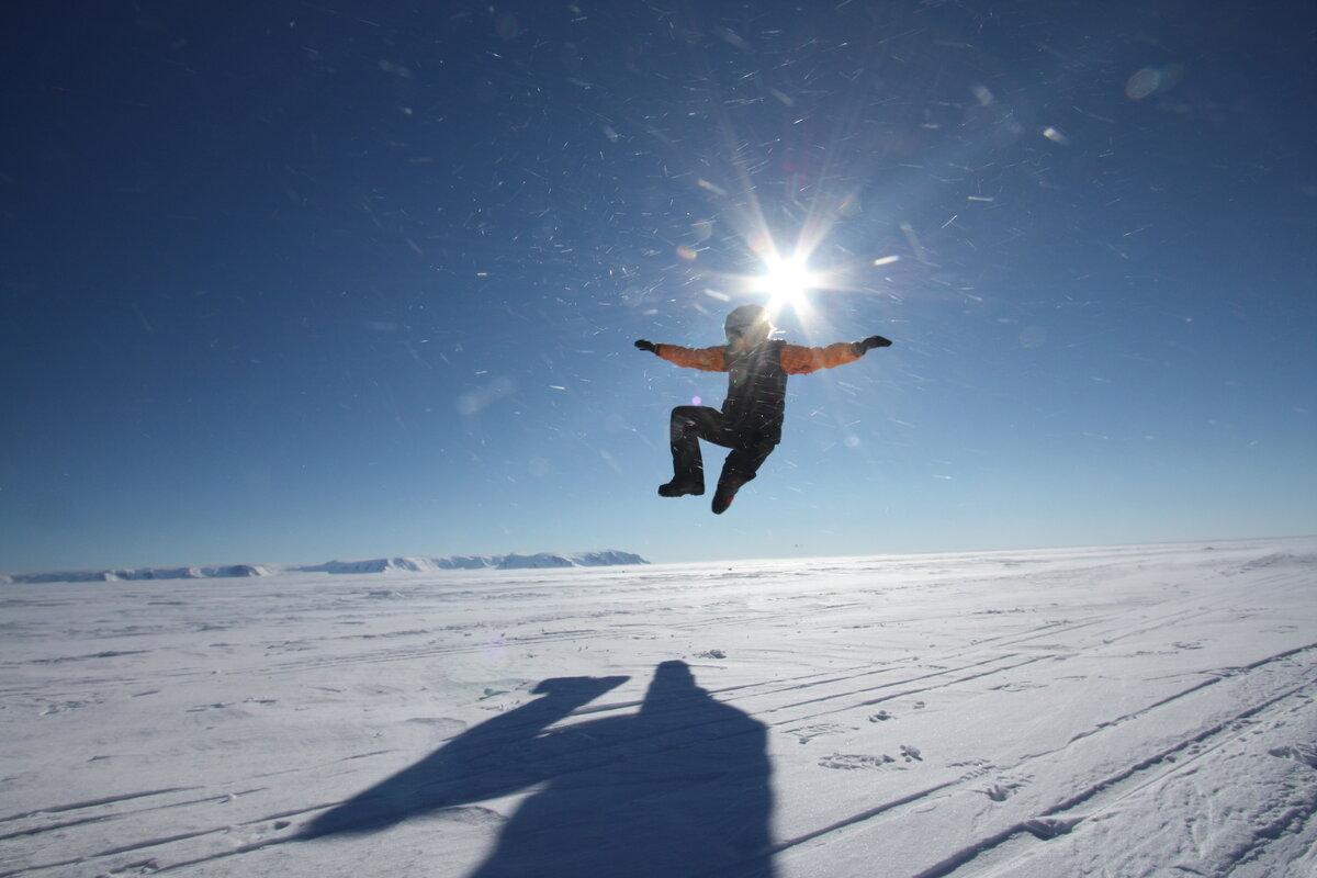 Celebrating start of expedition on Ross Ice Shelf