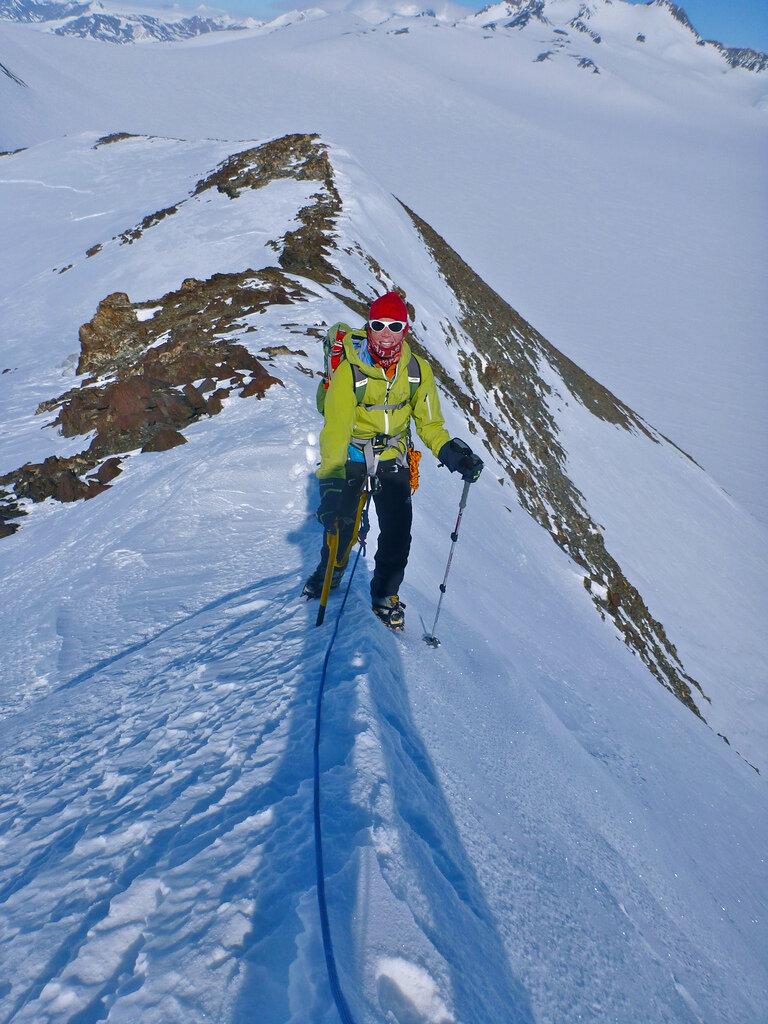 Climber on ridge of Lunch Peak