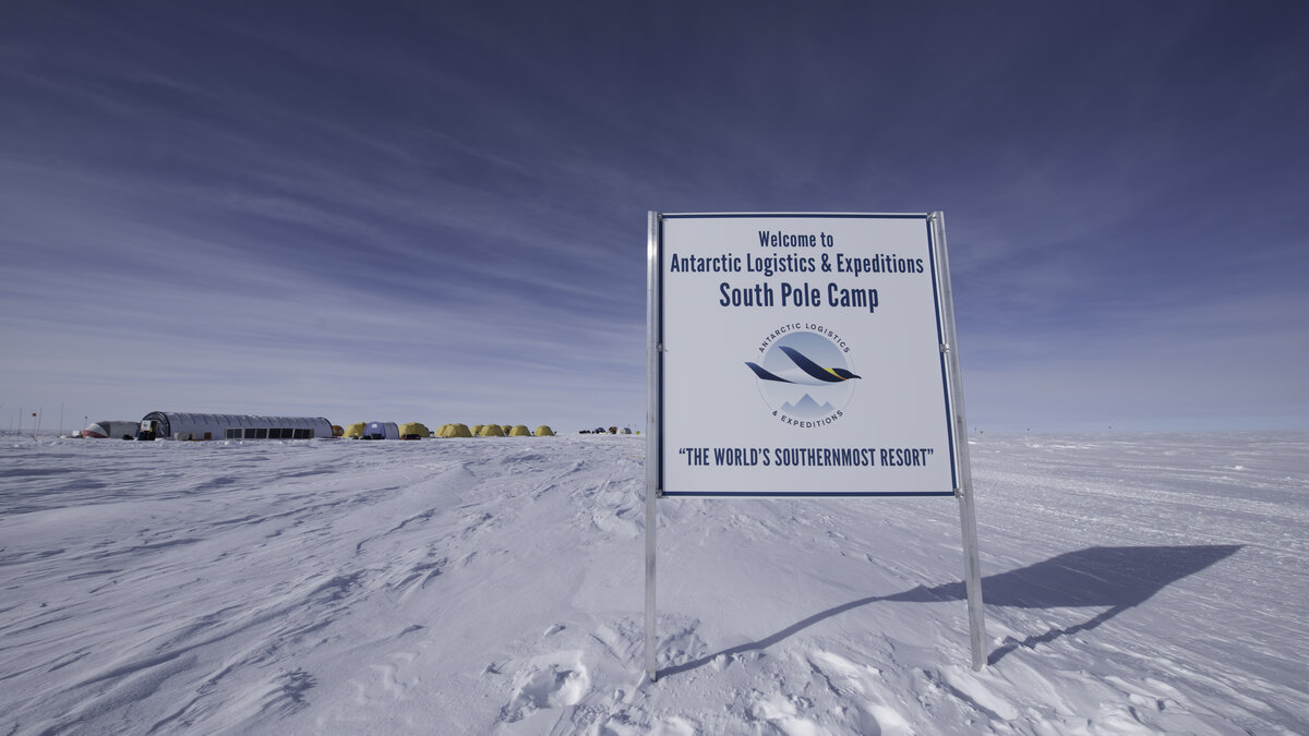 Welcome sign at the entrance to ALE's South Pole Camp
