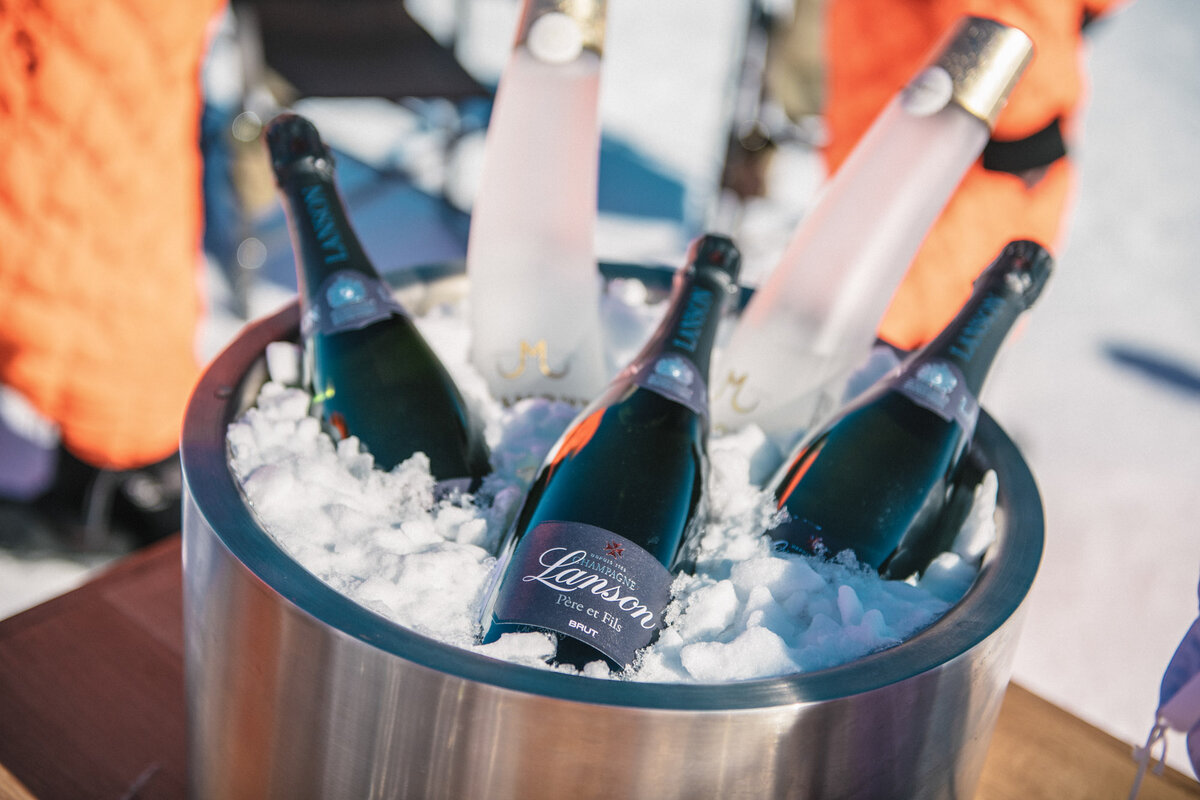 Champagne chilled over Antarctic snow & ice