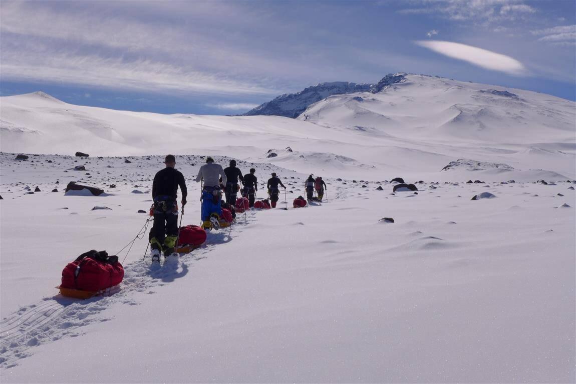 Heading toward the summit of Mount Sidley