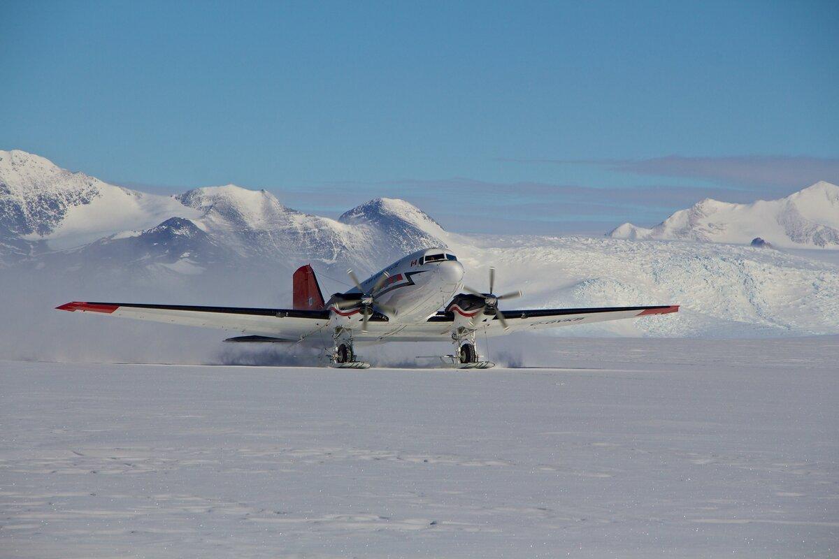 ALE's Basler BT-67 aircraft lands at Union Glacier