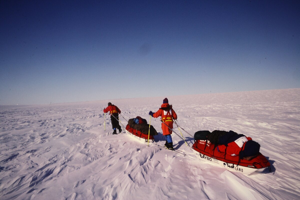 Ran Fiennes and Mike Stroud. First unsupported Antarctic crossing