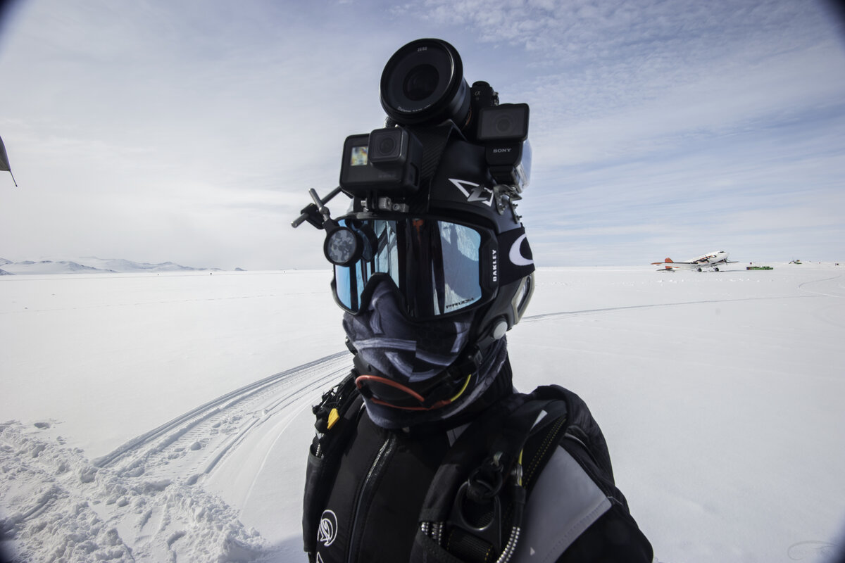 A Skydive Antarctica guest takes a selfie before performing his skydive jump
