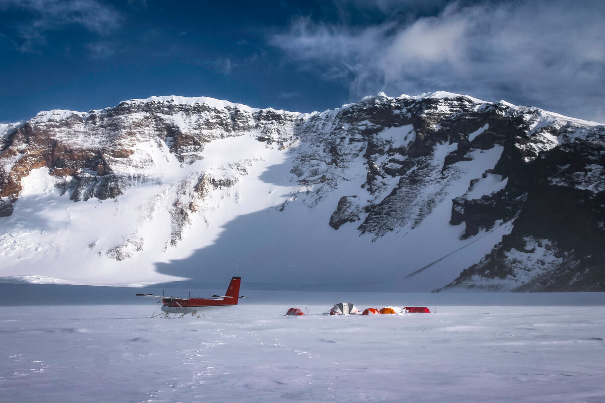 ALE aircraft and field camp in Mount Sidley's caldera