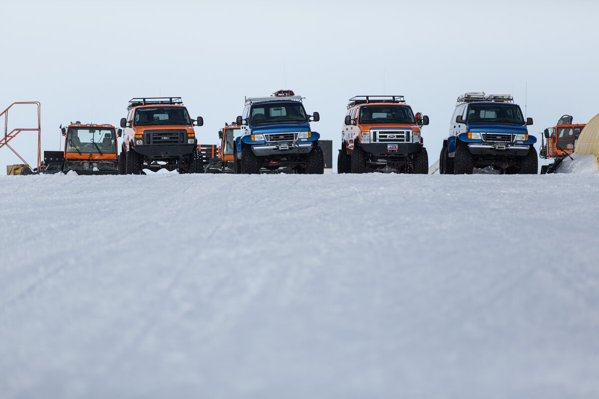 ALE van fleet at Union Glacier Camp