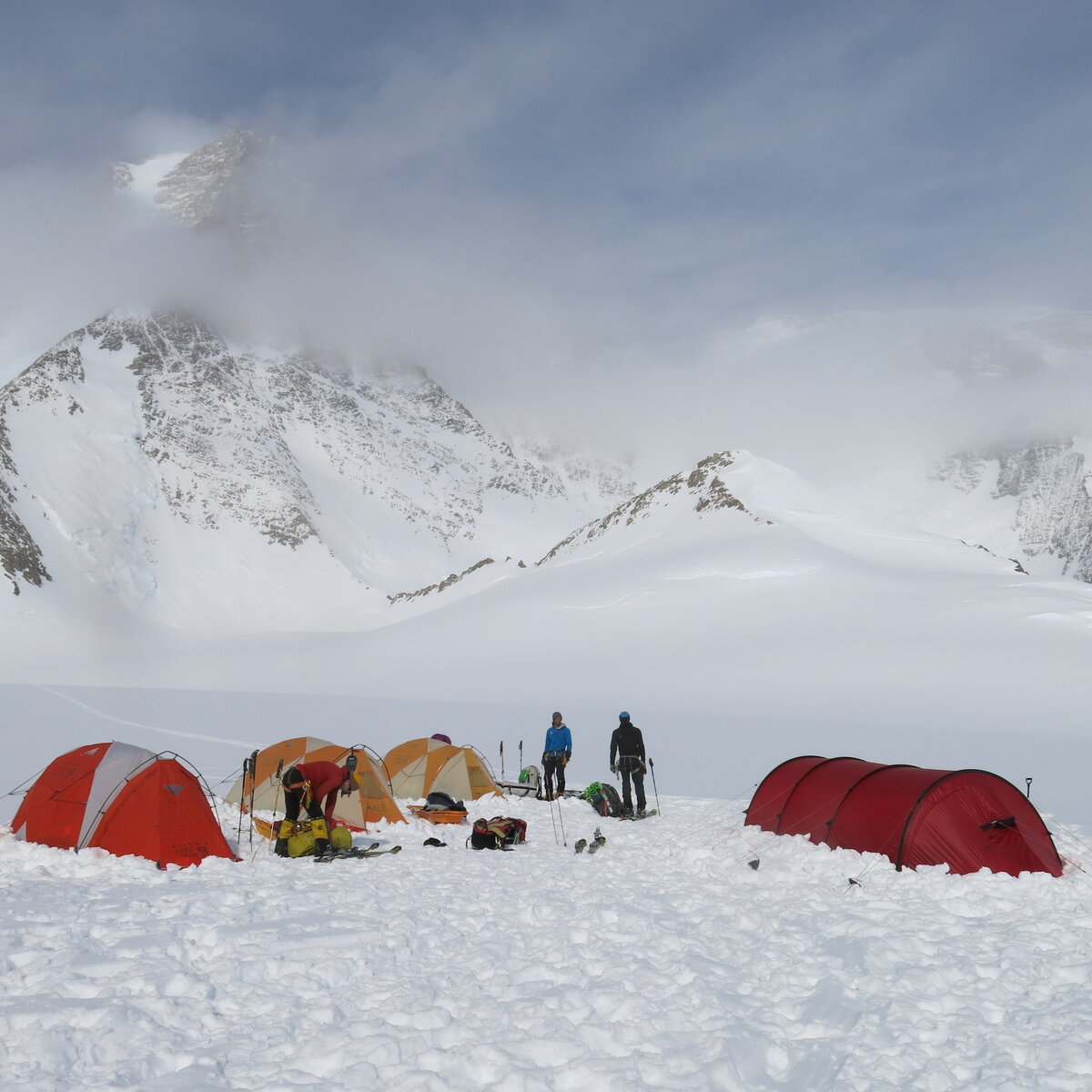 Setting up base camp below Mount Tyree