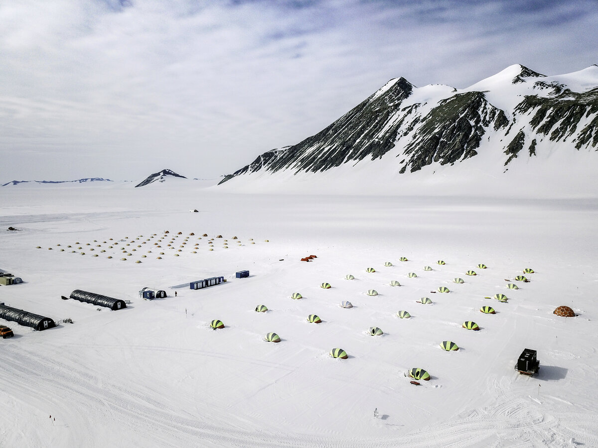 Aerial view of Union Glacier Camp guest tent area