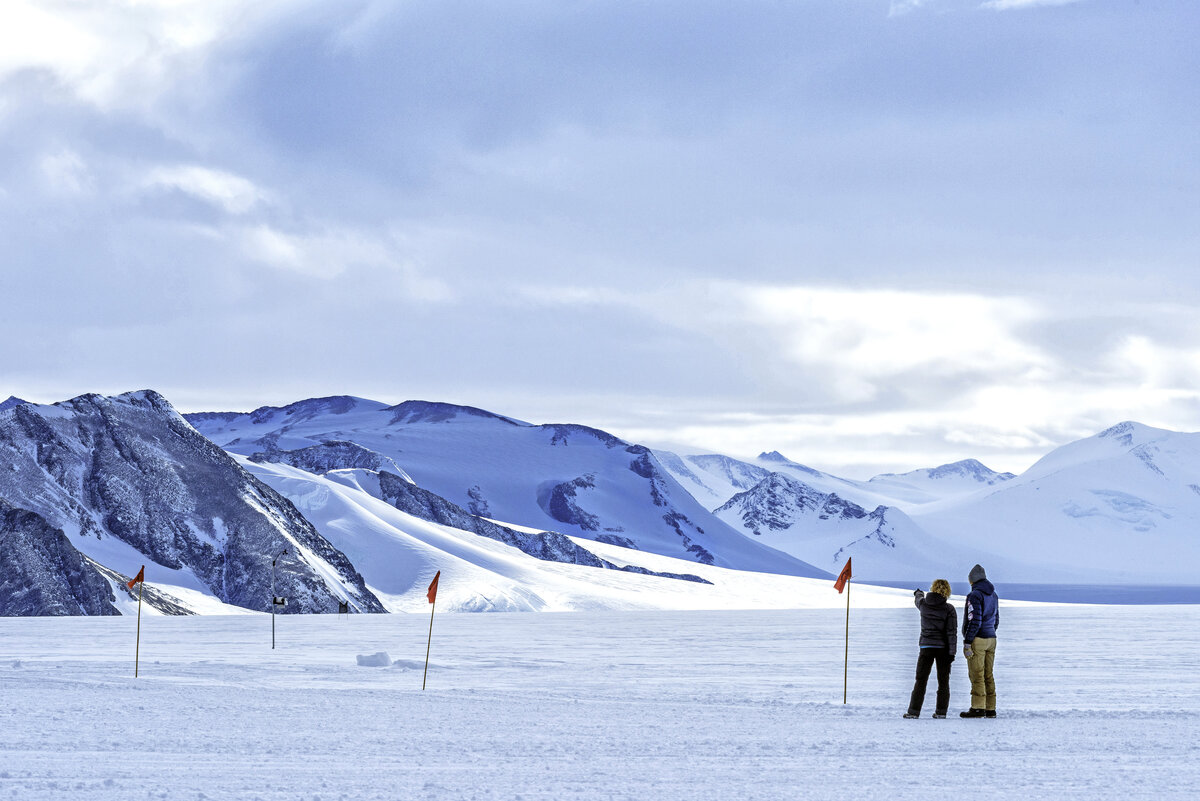 Guests take in the view from the Union Glacier skiway