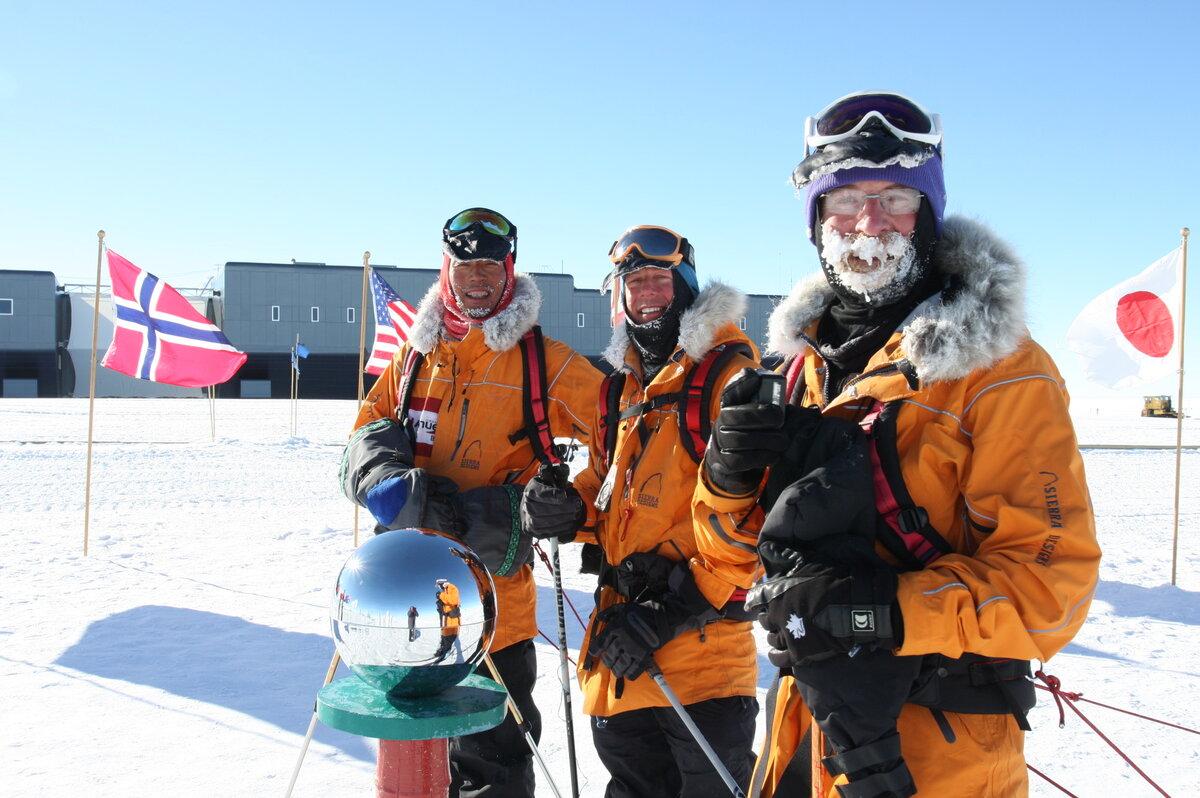 Team members reach the Ceremonial South Pole