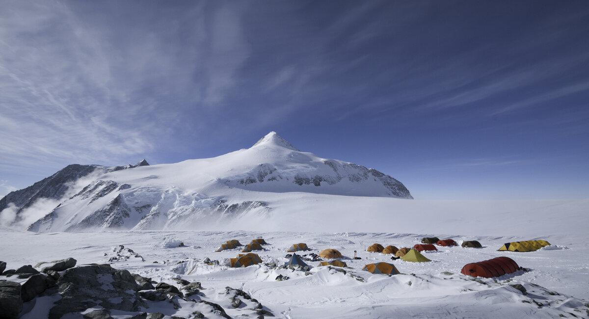 Mount Vinson High Camp on upper plateau