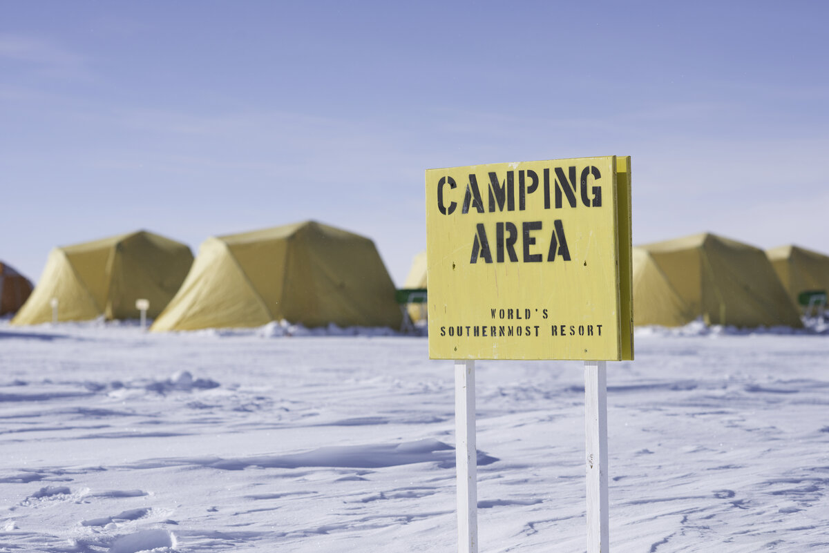 Camping area sign near guest sleeping tents, at ALE's South Pole Camp