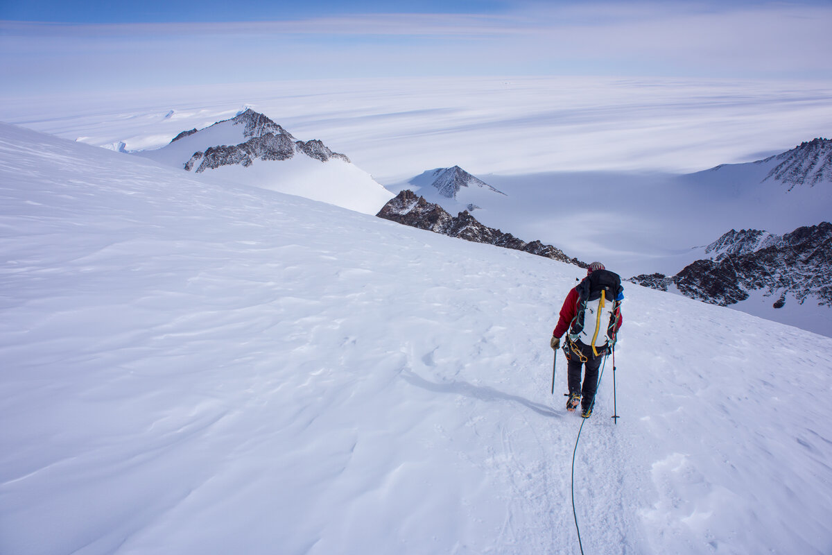 Roped climber descends from High Camp to the fixed lines
