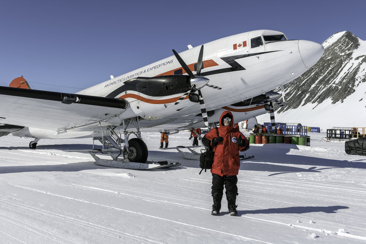 A guest ready to board his flight to the South Pole